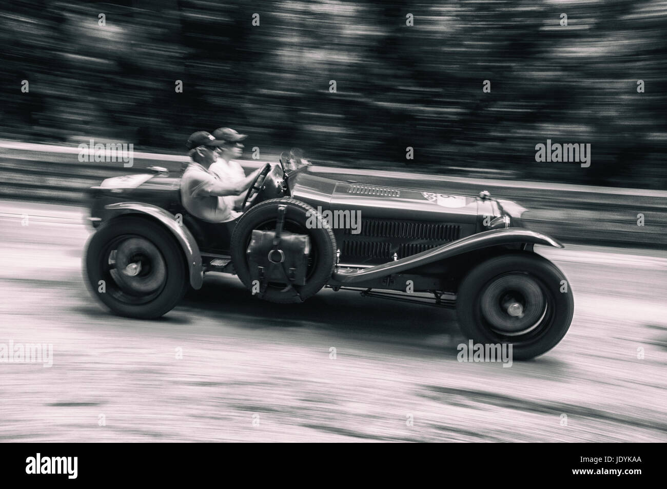 ASTON MARTIN LE MANS 1933 on an old racing car in rally Mille Miglia ...