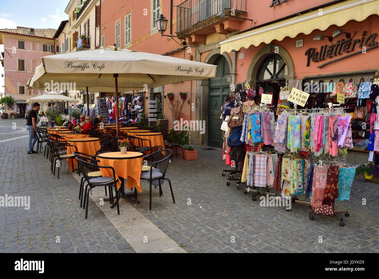 Central square (Piazza della Libertà) in village of Castel Gandolfo, Italy - Stock Image