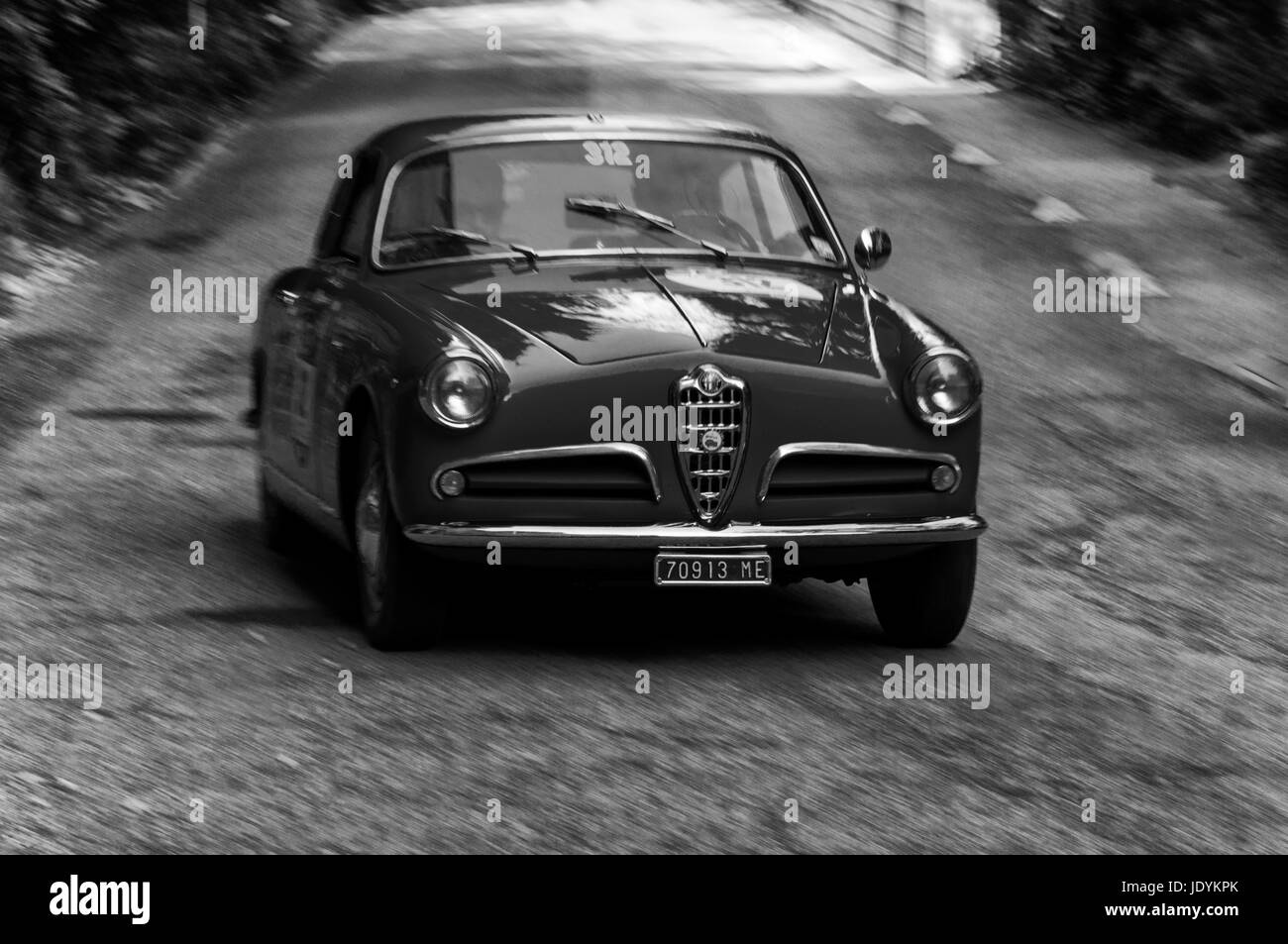 ALFA ROMEO GIULIETTA SPRINT 1956 on an old racing car in rally Mille ...