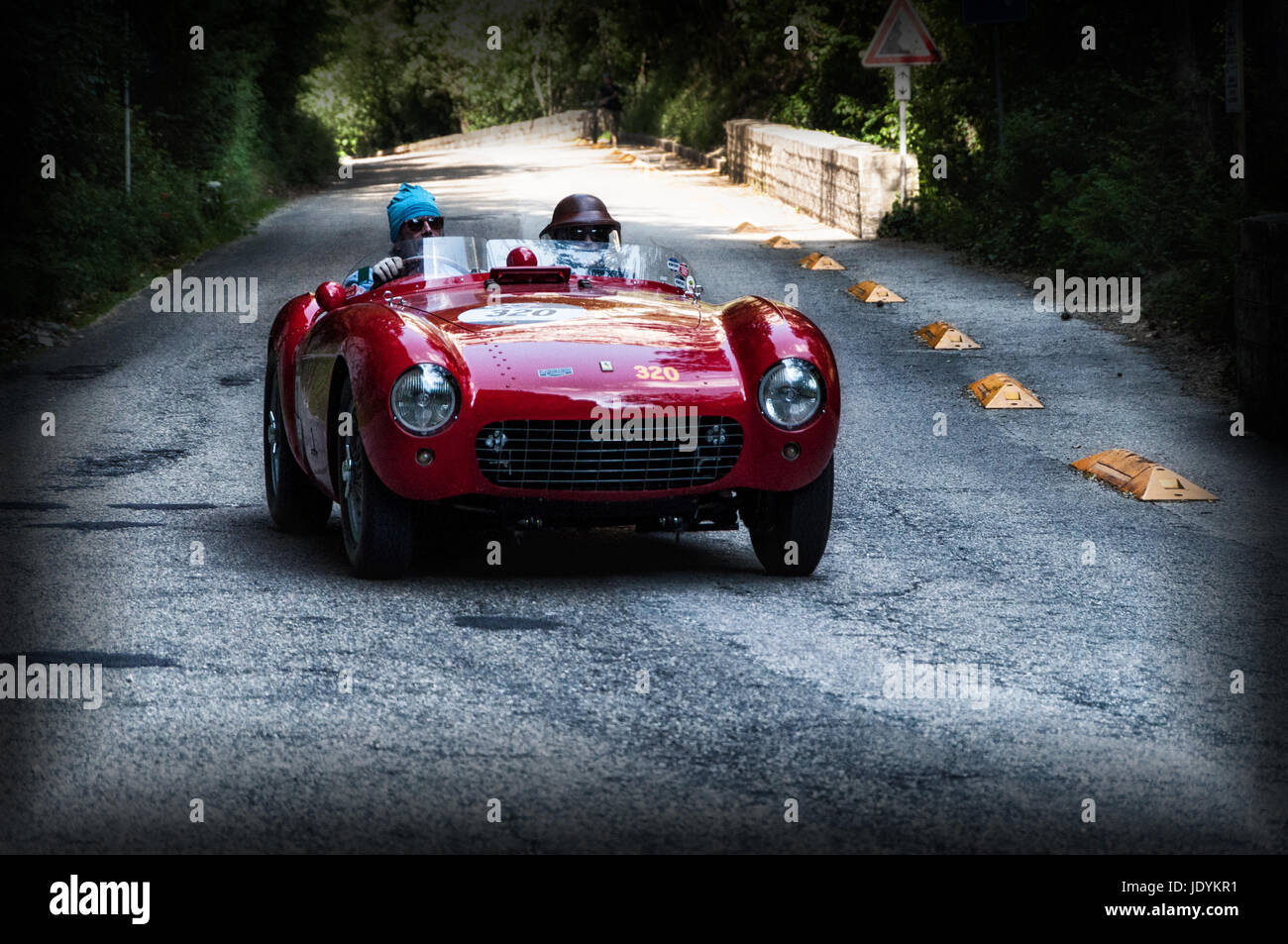 FERRARI 500 MONDIAL 1954 on an old racing car in rally Mille