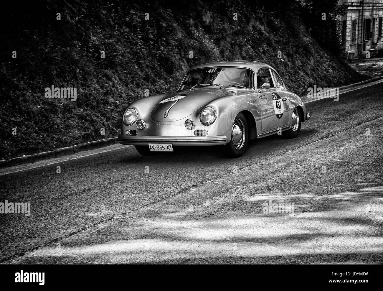 PORSCHE 356 A 1500 GS CARRERA 1956 on an old racing car in rally ...