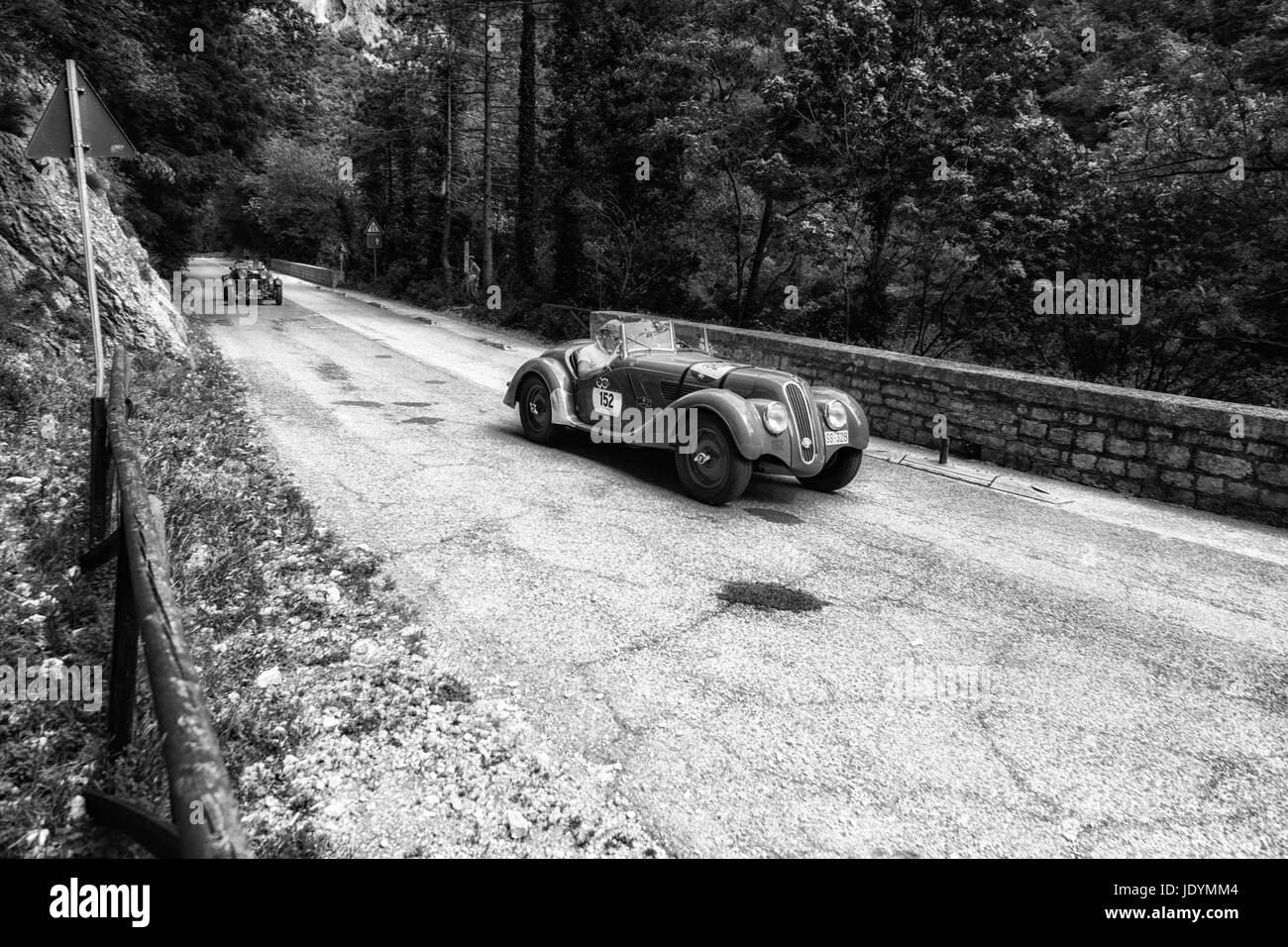 BMW 328 1939 on an old racing car in rally Mille Miglia 2017 the famous italian historical race (1927-1957) on May - Stock Image