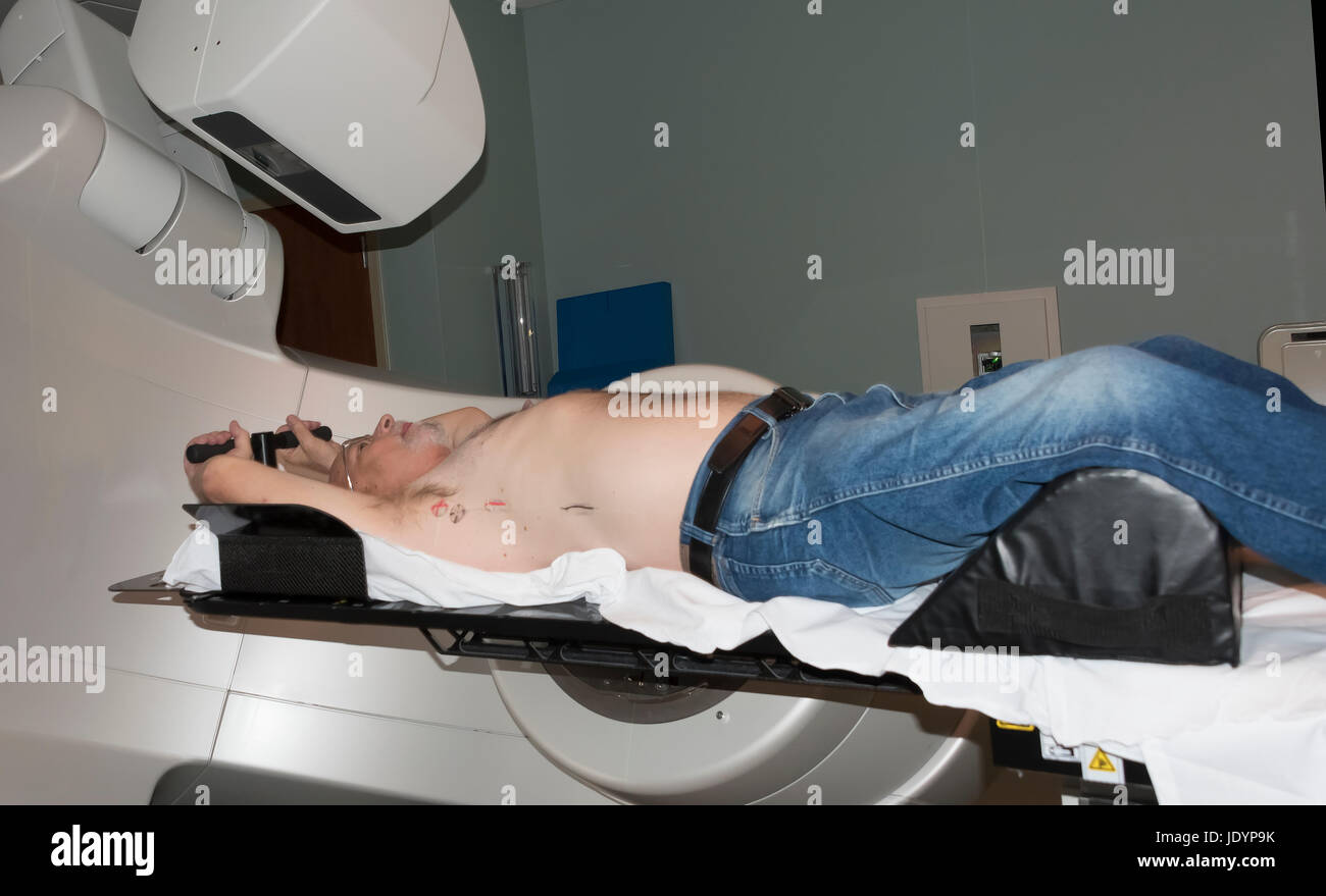 Patient Radiation therapy laser markings lines for targeting cancer cells in the Chest - Stock Image