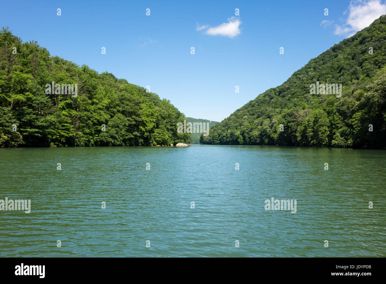 Calm view down Cheat Lake Morgantown - Stock Image