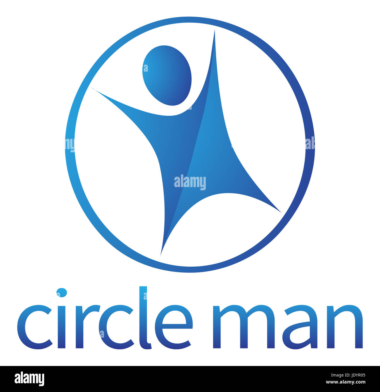 A conceptual illustration of a stylised blue person in a circle - Stock Image