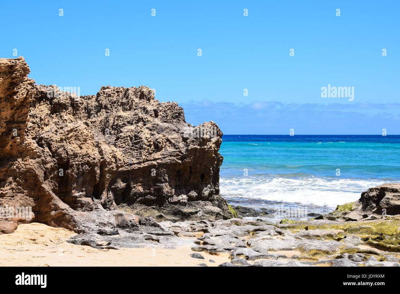 Seascape of the beach at Ponta da Calheta, Porto Santo Island, Portugal - Stock Image