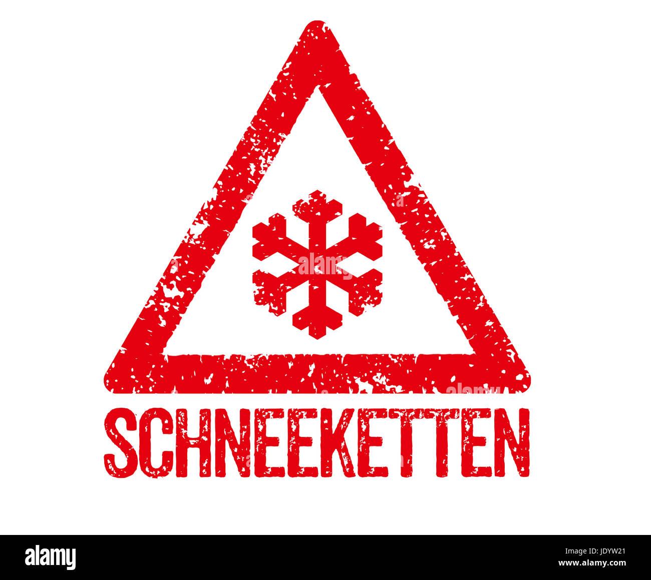 Roter Stempel - Schneeketten Stock Photo