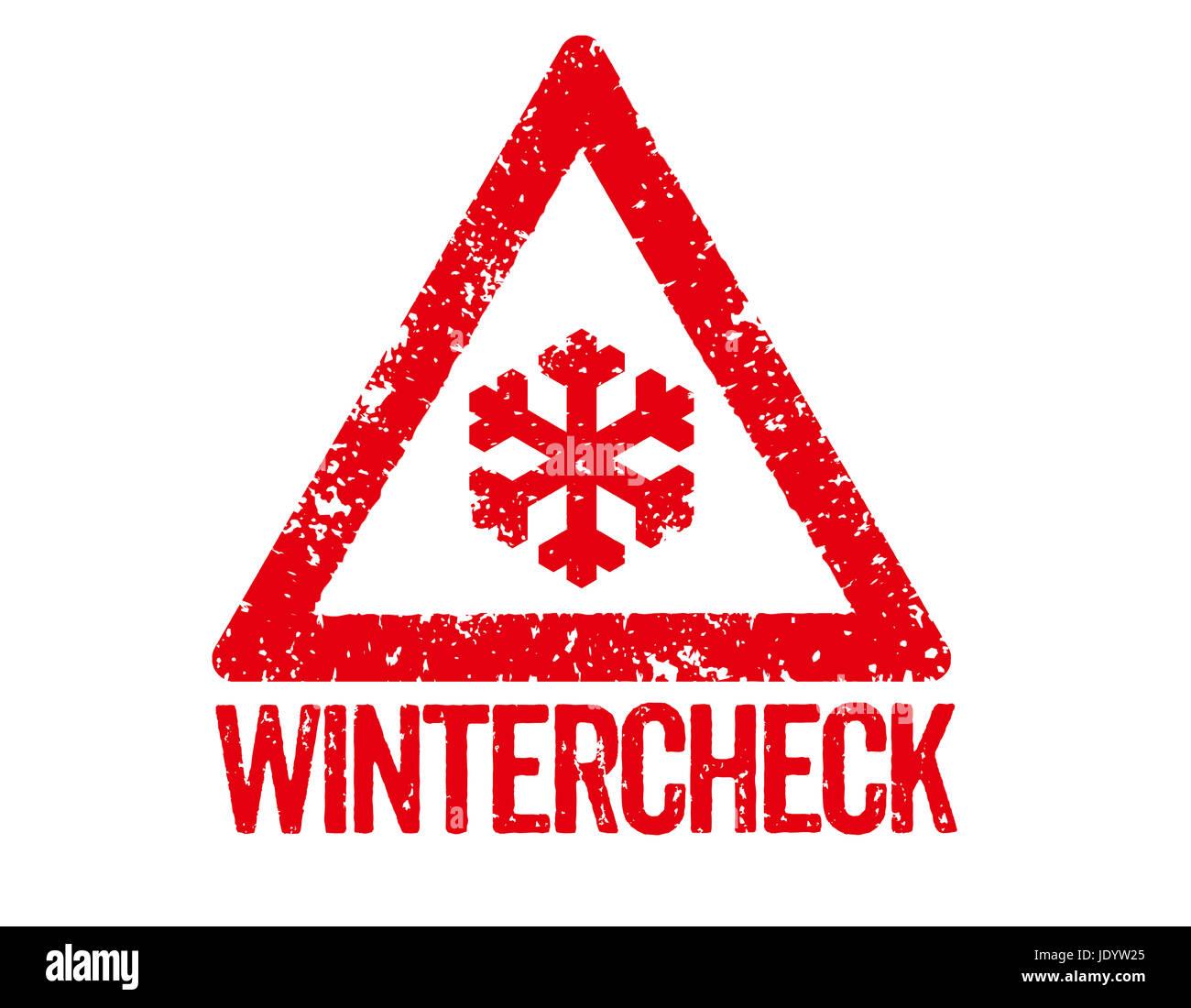 Roter Stempel - Wintercheck Stock Photo