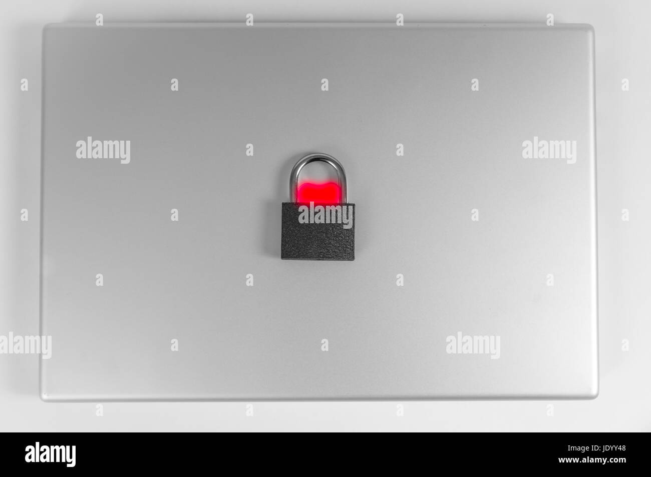 locked computer safe from virus or malware attack Stock Photo