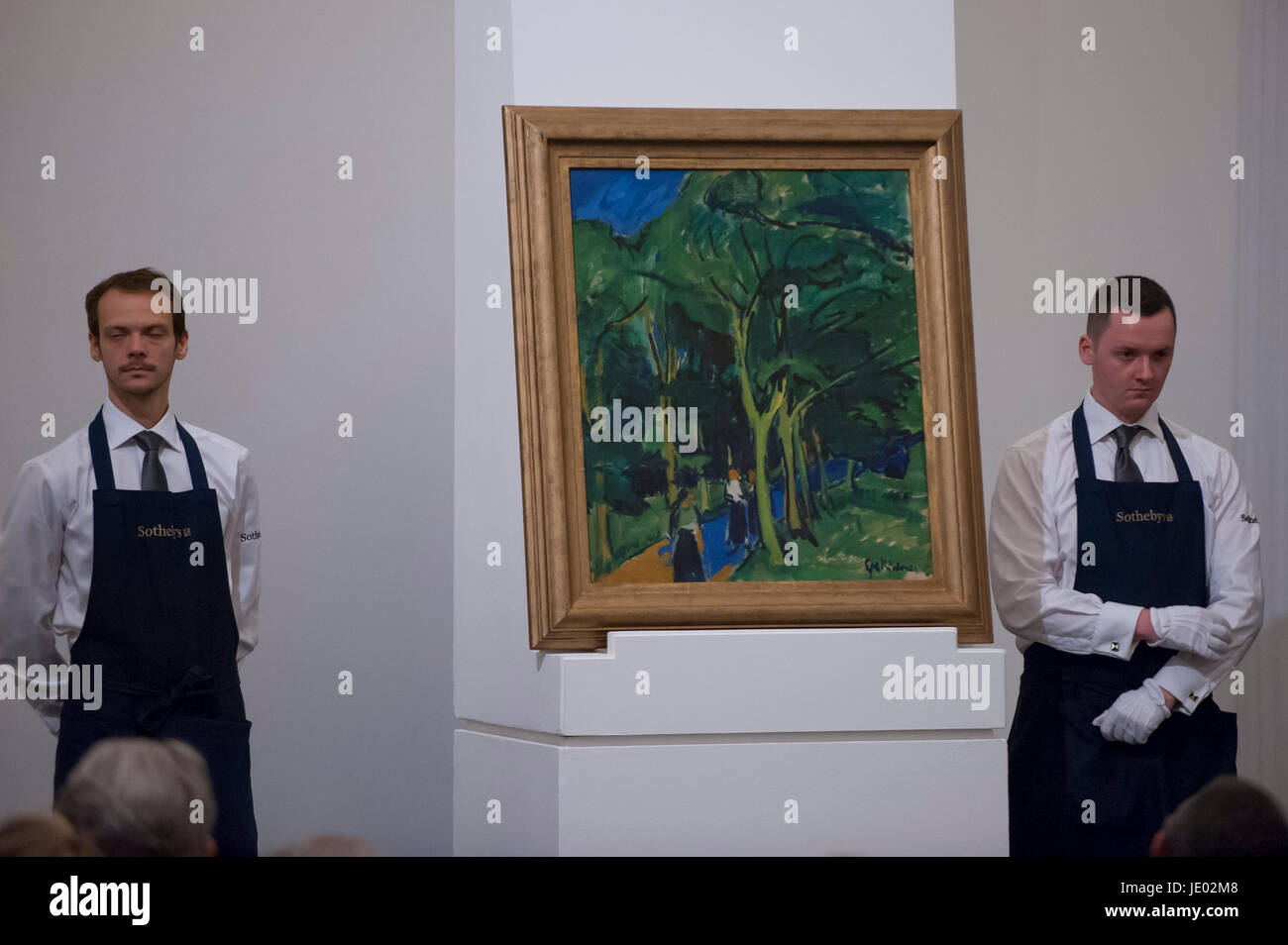 London, UK.  21 June 2017. 'Waldstrasse (Forest Road)' by Ernst Ludwig Kirchner sold for a hammer price - Stock Image