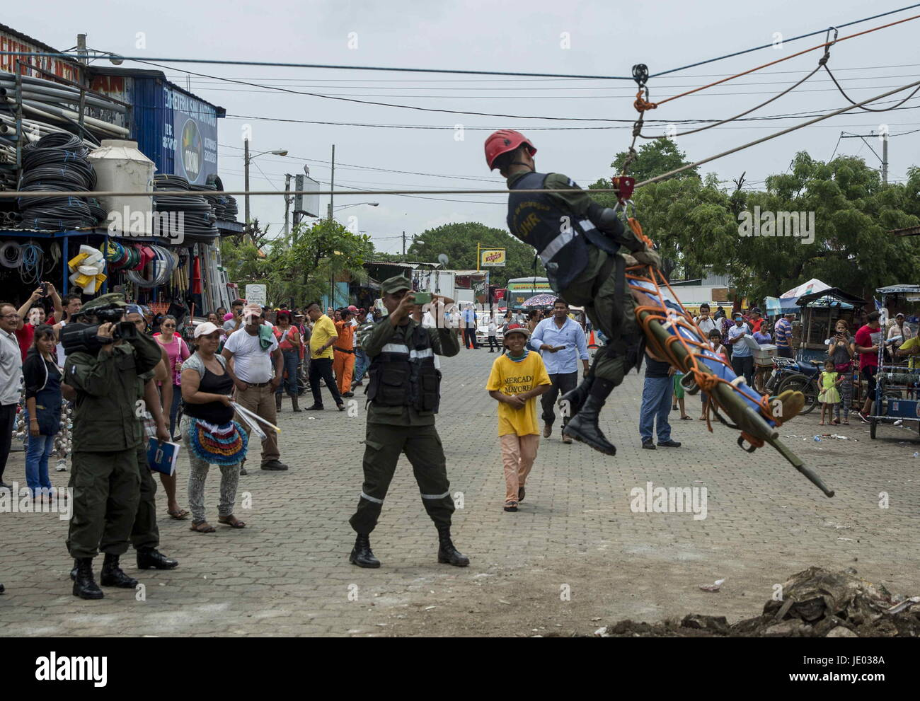 Members of the resuce teams participate in the second national multi-threats drill in Managua, Nicaragua, 21 June - Stock Image