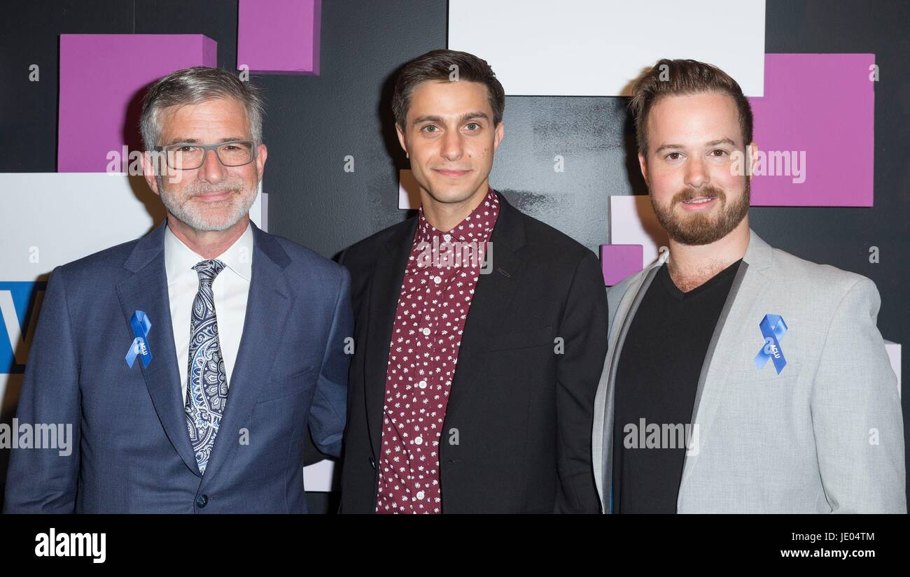 New York, NY, USA. 21st June, 2017. Peter Barbey, Gideon Glick, Matt Barbey at arrivals for The Village Voice Pride - Stock Image