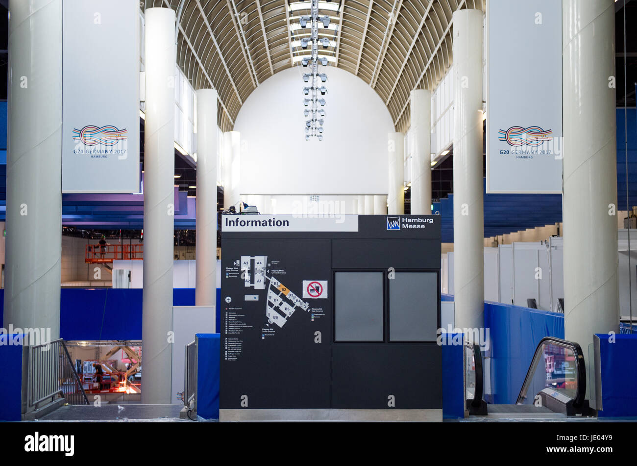 Hamburg, Germany. 22nd June, 2017. The entrance to the media centre being prepared for the G20 Summit at the Fair Stock Photo