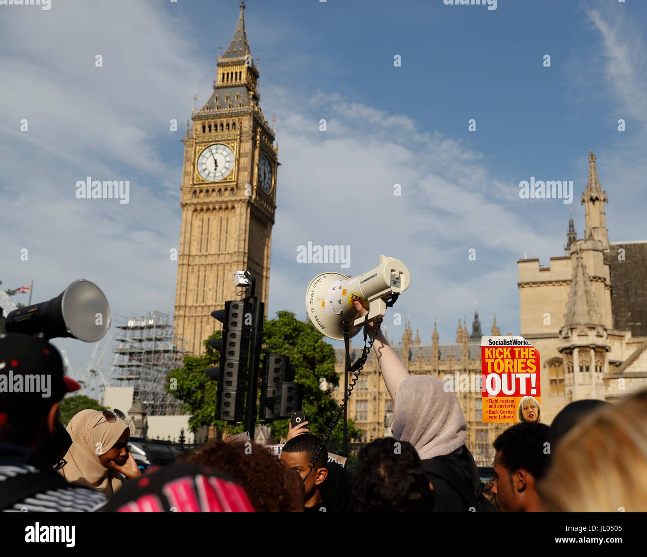 London, UK. 21st June, 2017. People take part in an anti-government protest at the Parliament Square in London, Stock Photo