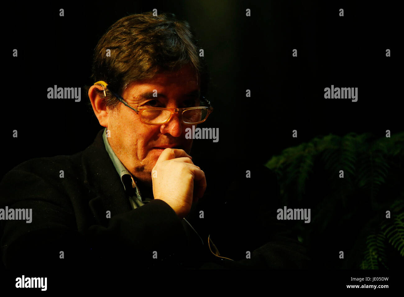 Spanish poet and literary critic Luis Garcia Montero participates in a tribute to the Spanish publisher Visor for - Stock Image