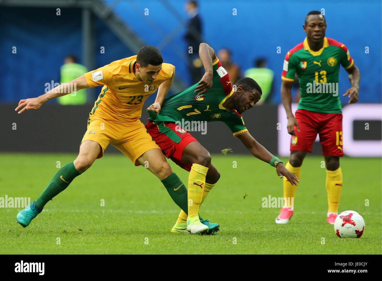 St Petersburg, Russia. 22nd June, 2017. Australia's Tom Rogic, Cameroon's Arnaud Djoum and Christian Bassogog - Stock Image
