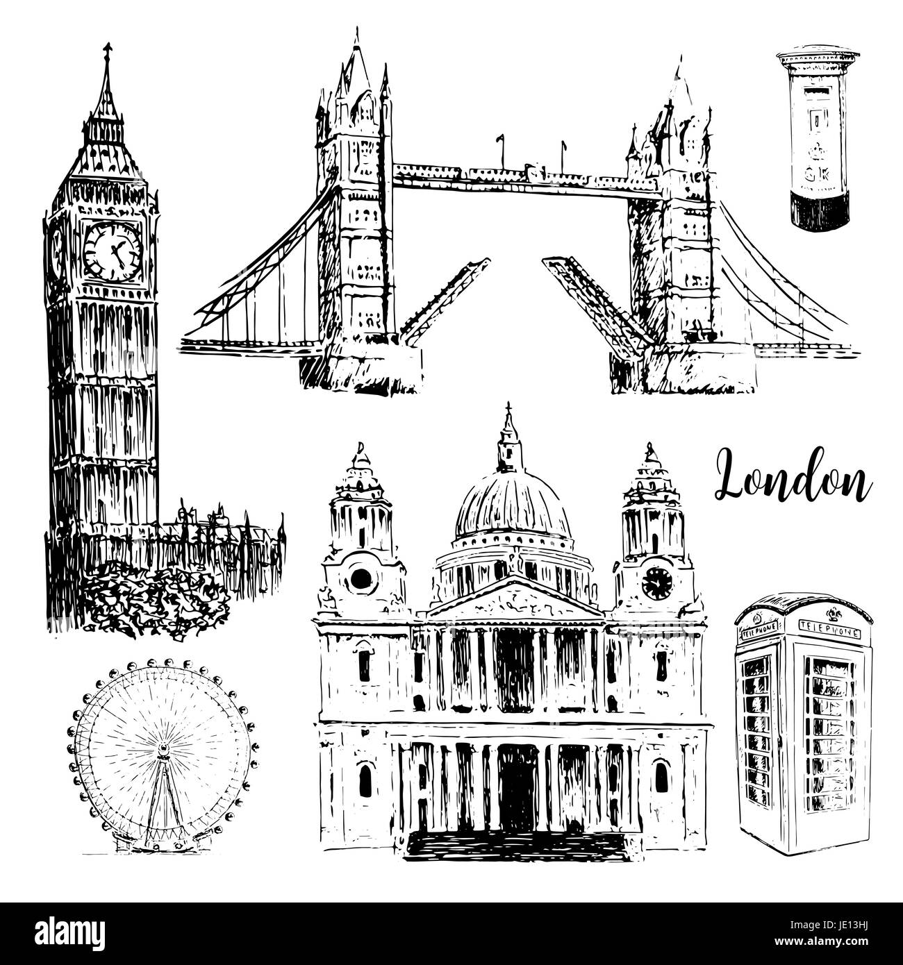 London architectural symbols: St. Paul Cathedral, Big Ben and Tower Bridge, London eye. Beautiful hand drawn vector - Stock Vector