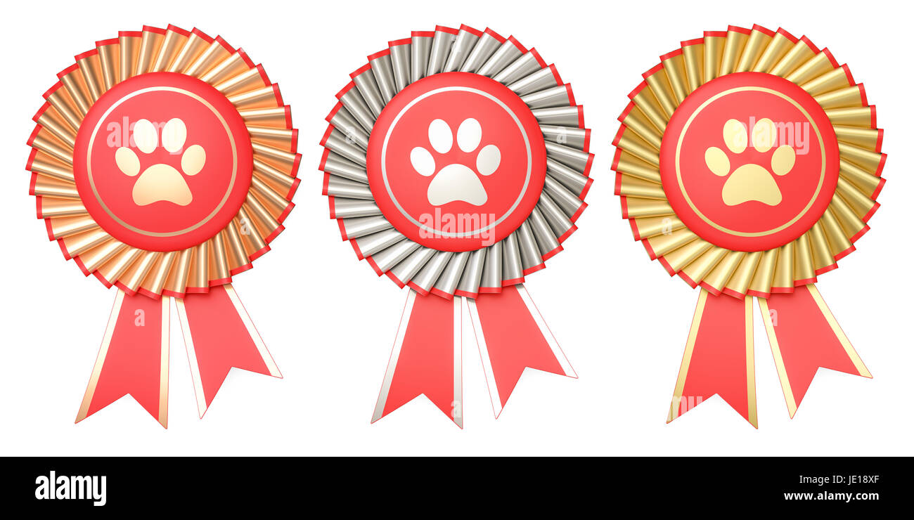 Set of dog or cat winning awards, medals or badges with ribbons. 3D rendering - Stock Image