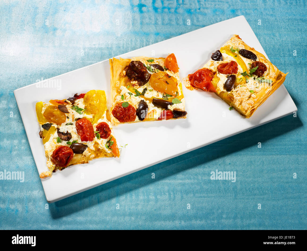 phyllo dough pizza squares - Stock Image