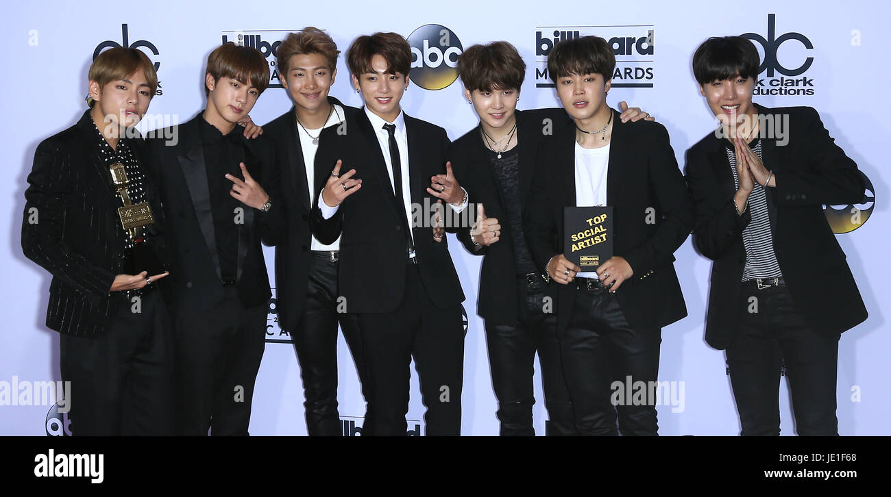 2017 Billboard Music Awards Press Room at T-Mobile Arena Las Vegas  Featuring: BTS Where: Las Vegas, Nevada, United - Stock Image