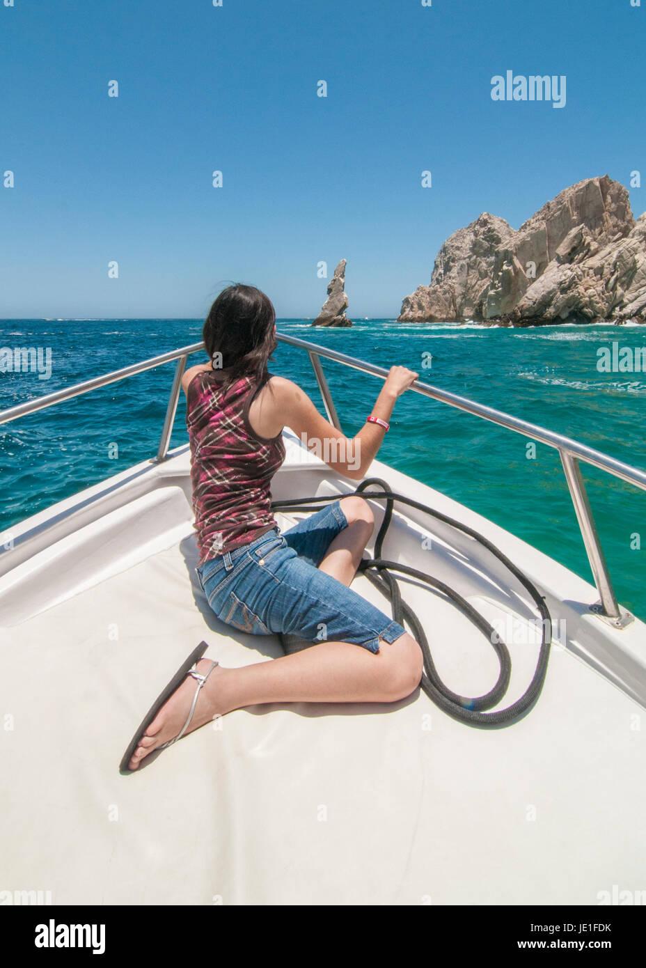 Neptune Finger Or Dedo de Neptuno Infront Of Lovers Beach, Cabo San Lucas Baja California Sur. MEXICO Stock Photo