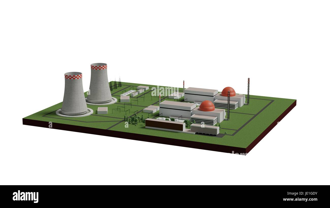 Cartoon Power Plant Building Chimney Stock Photos Nuclear Diagram And Explanation 3d Render Isolated On White Image