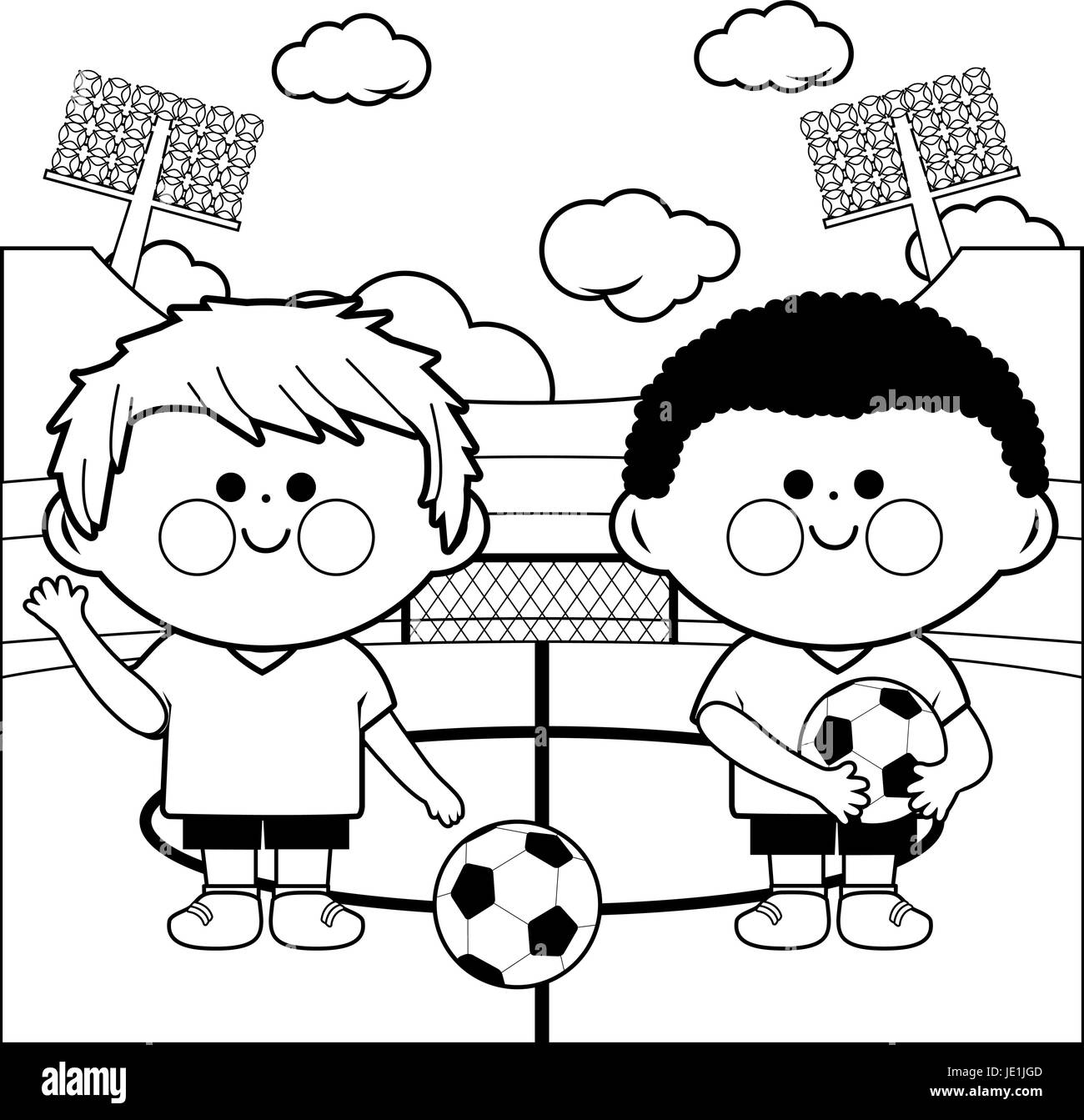 Children soccer players in a stadium. Coloring page Stock Vector