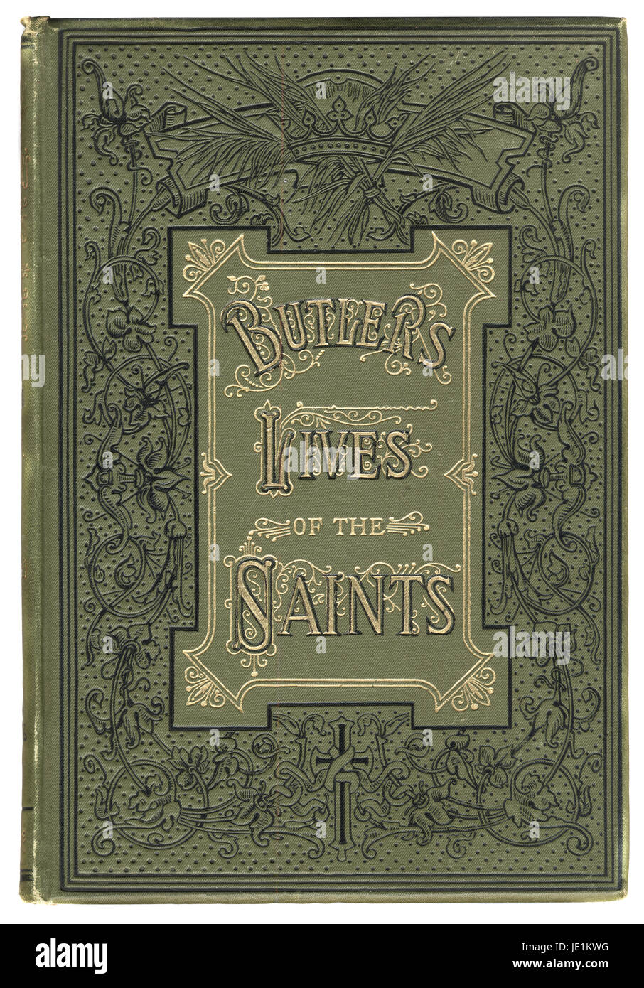 Victorian book cover for Butlers Lives of the Saints, 19th Century - Stock Image