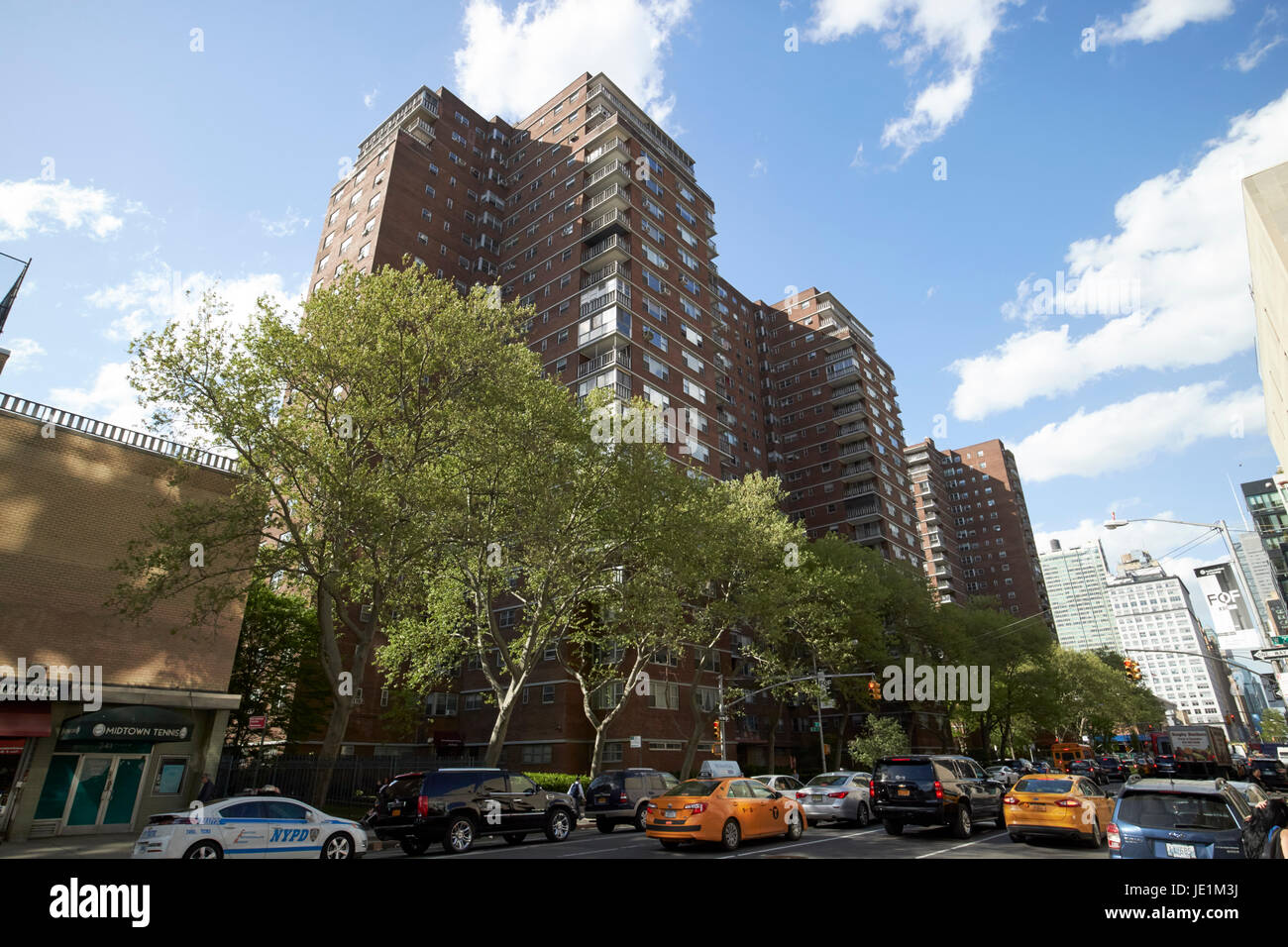 penn south coops mutual redevelopment houses affordable housing blocks chelsea New York City USA - Stock Image