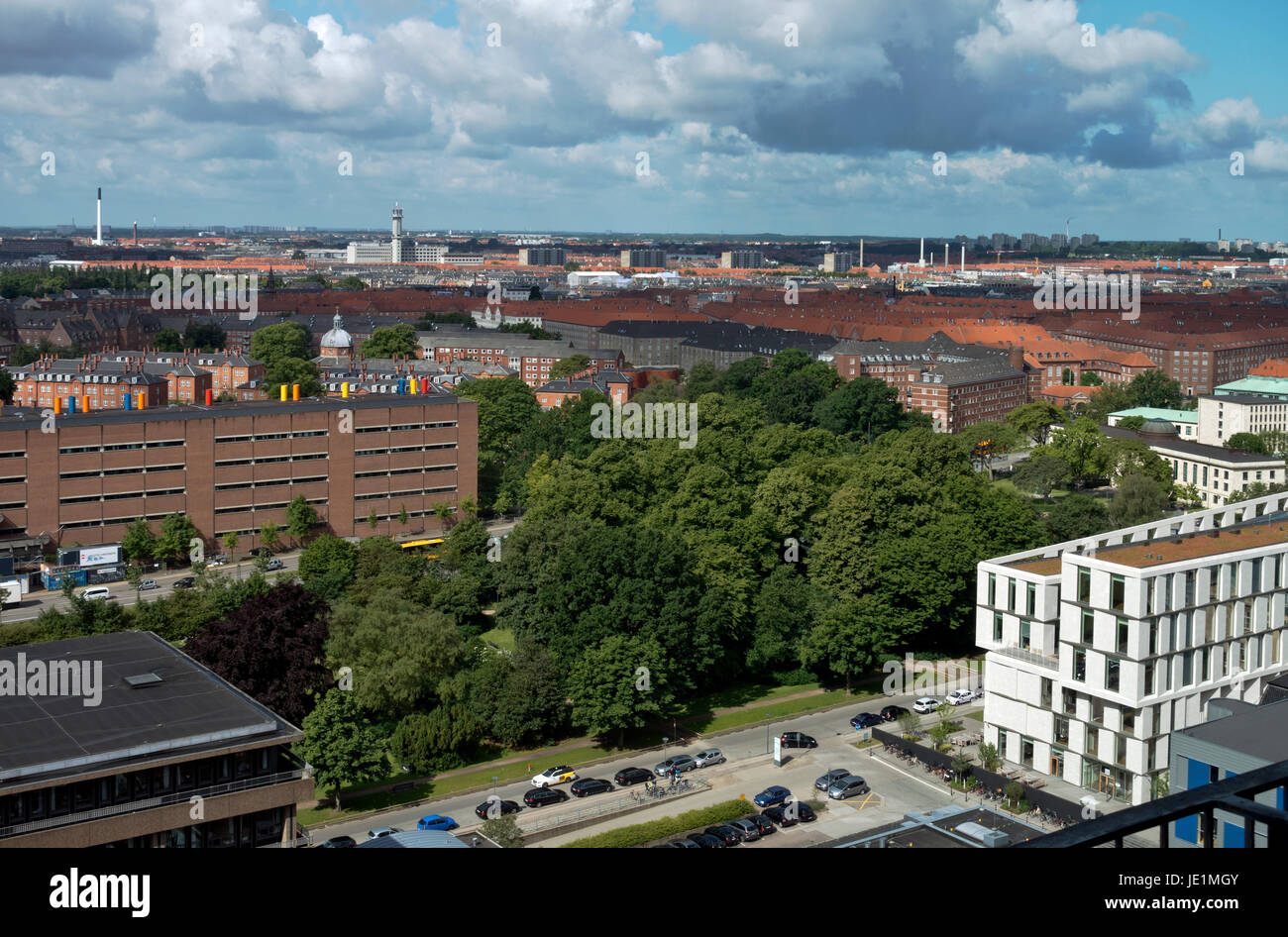 View south-east from 16th floor in National Hospital, Rigshospitalet, Copenhagen. Part of the Panum Institute, then - Stock Image