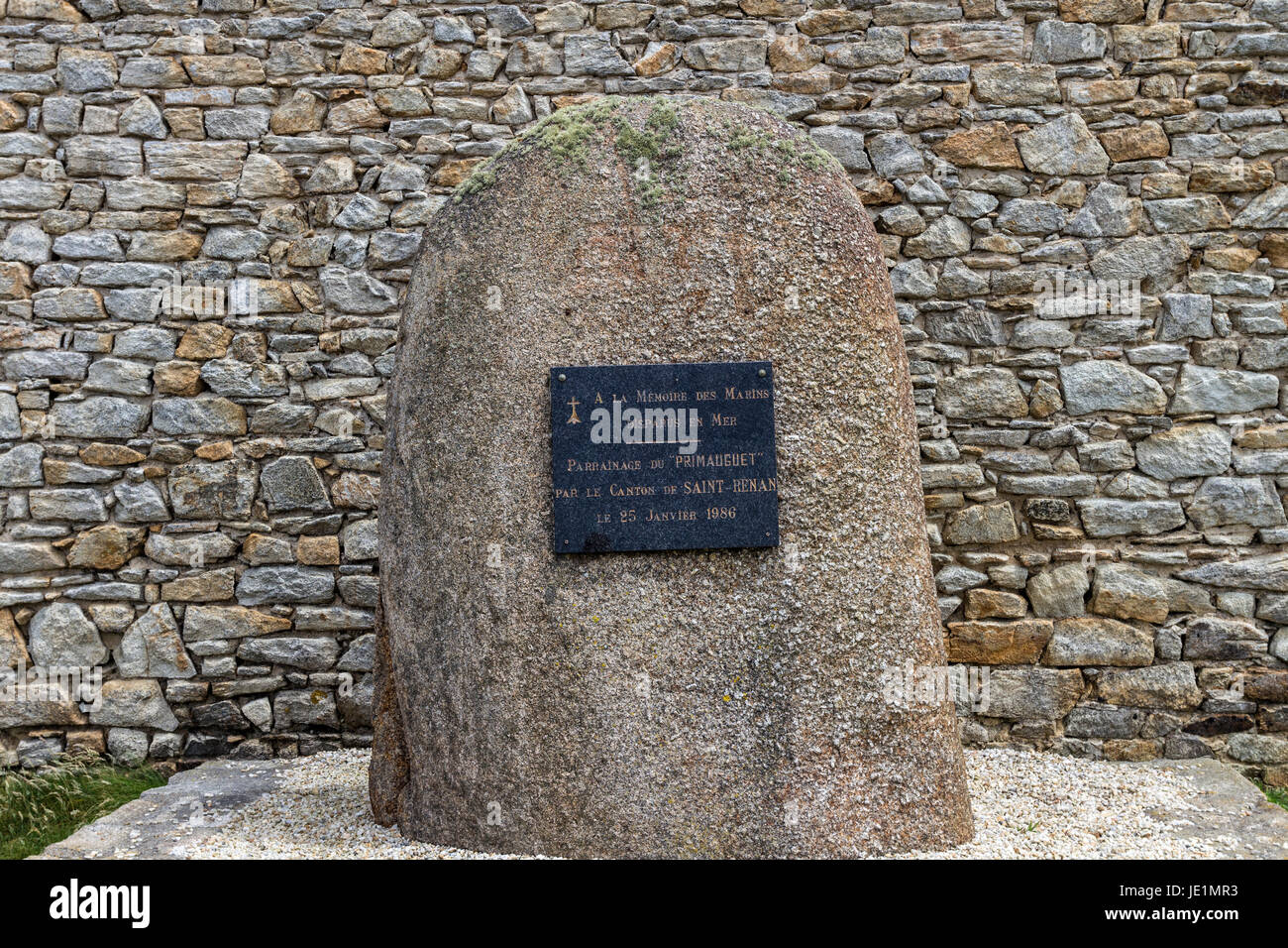 Memorial to Sailors Lost at Sea on the Pointe de Corsen, Plouarzel, Bittany, France - Stock Image