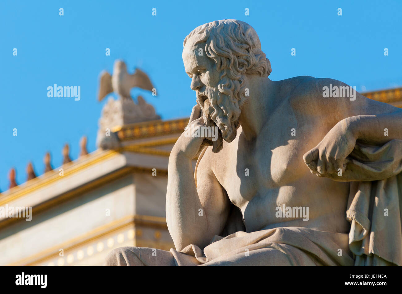classical statue of Socrates from side - Stock Image