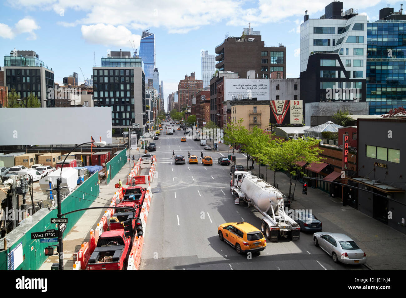 looking up tenth avenue through chelsea New York City USA - Stock Image