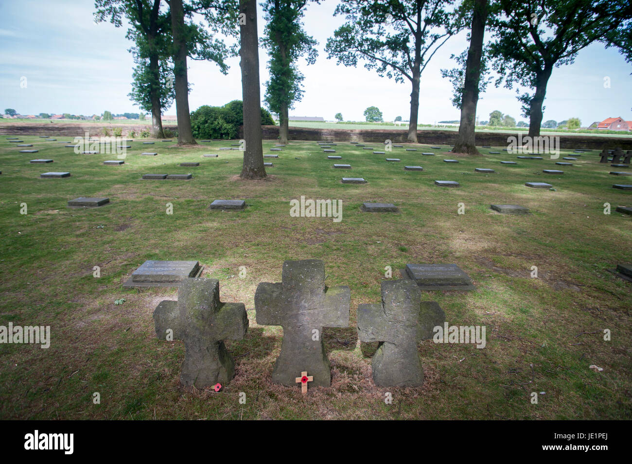The 'Duetscher Soldatenfriedhof' (German Soldier's Cemetery) in Langemark is particularly poignant because - Stock Image