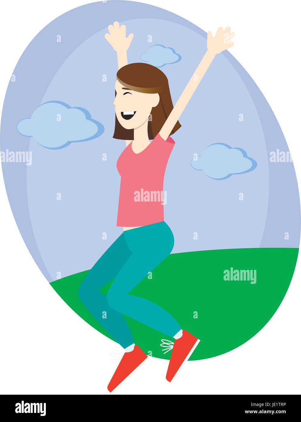 Happy girl jumping up with excitement - Stock Vector