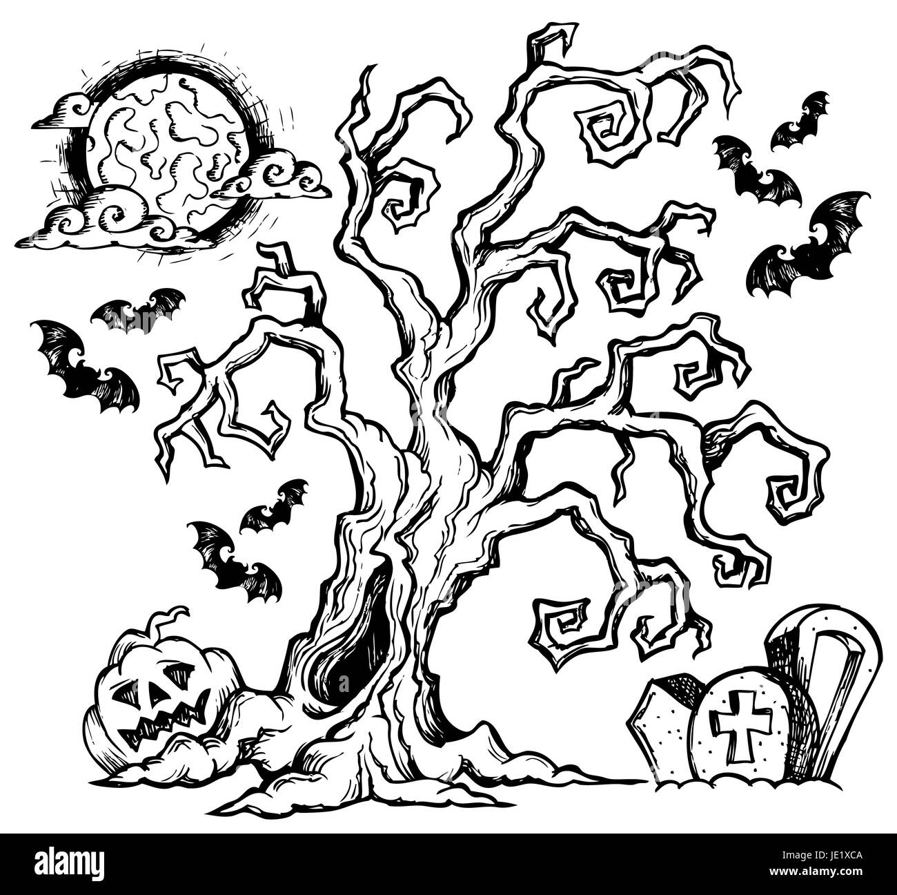 Halloween Theme Drawing 4 Picture Illustration Stock Photo Alamy
