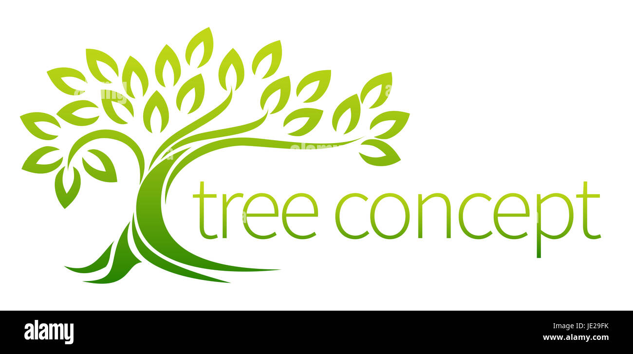Tree icon concept of a stylised tree with leaves, lends itself to being used with text - Stock Image