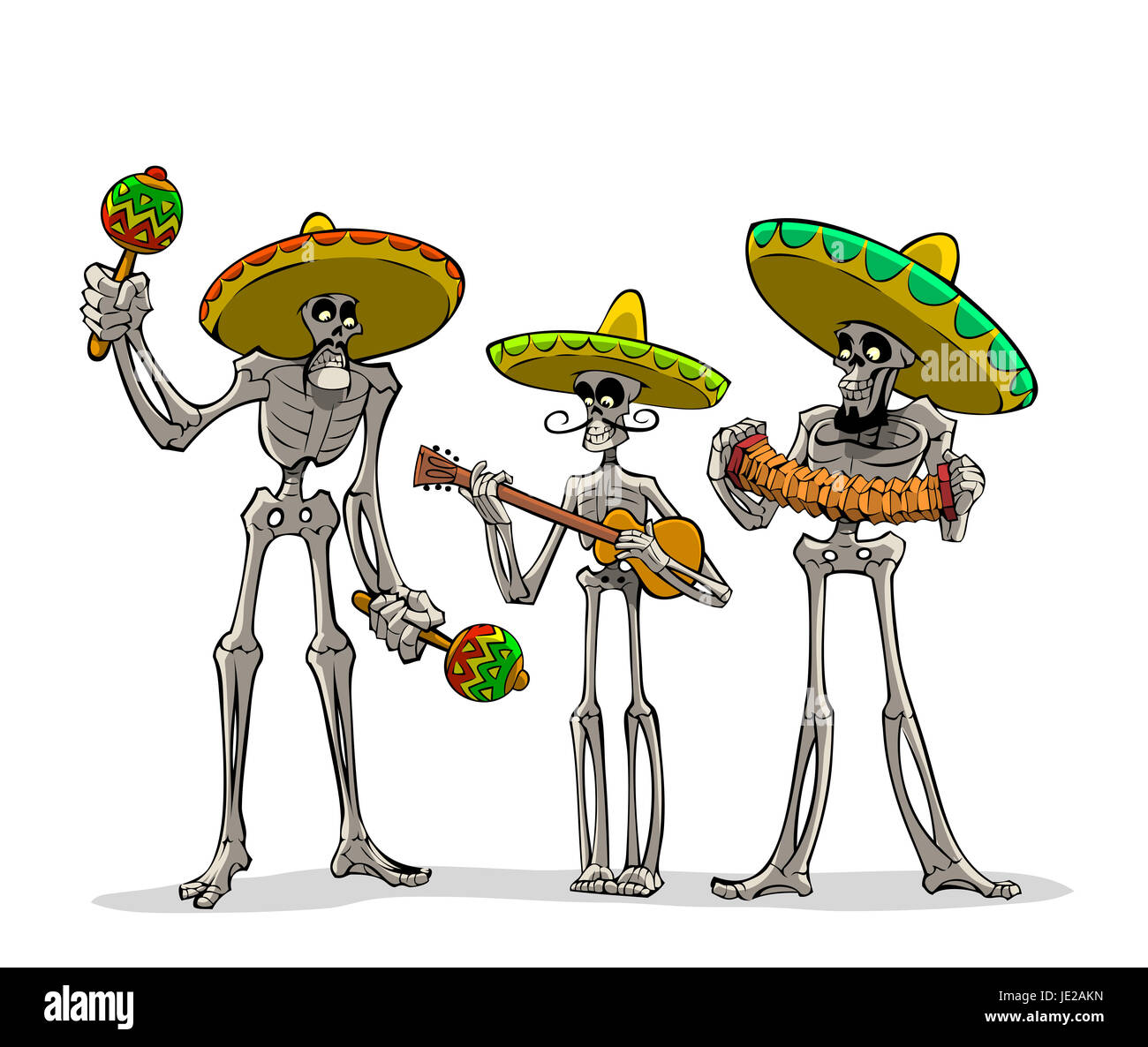 Danse Macabre. Three mexican skeletons with instruments play musics. - Stock Image