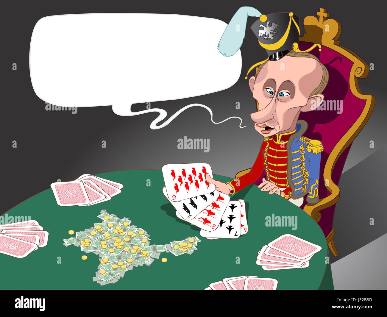 Russian president Vladivir Putin dressed as husar sitting at the table and looking at his military cards - Stock Image