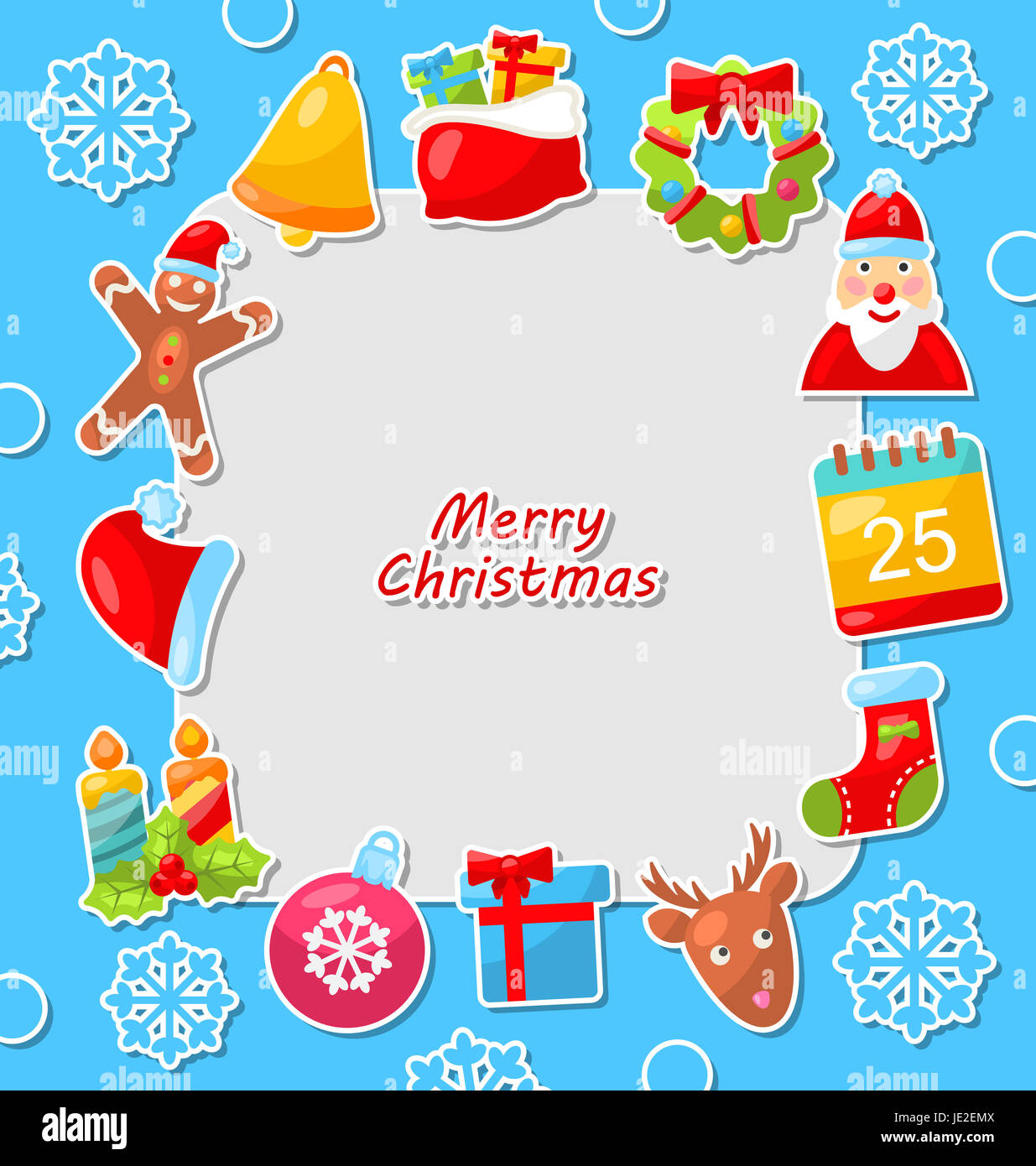 Illustration Merry Christmas Celebration Card with Traditional Elements - Stock Photo