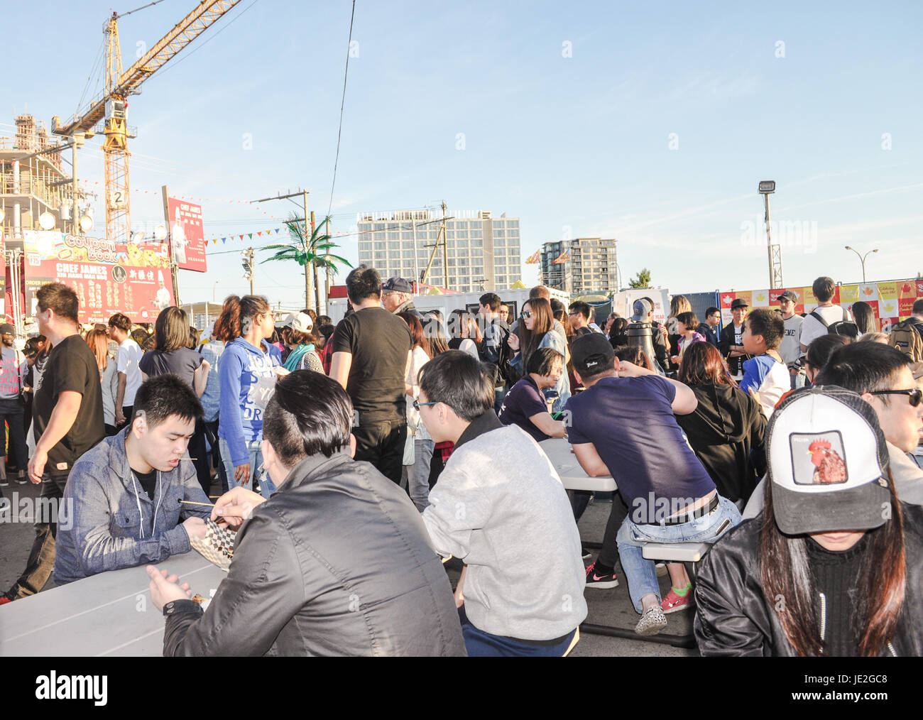 People from night market 2017 at Richmond, BC Canada - Stock Image