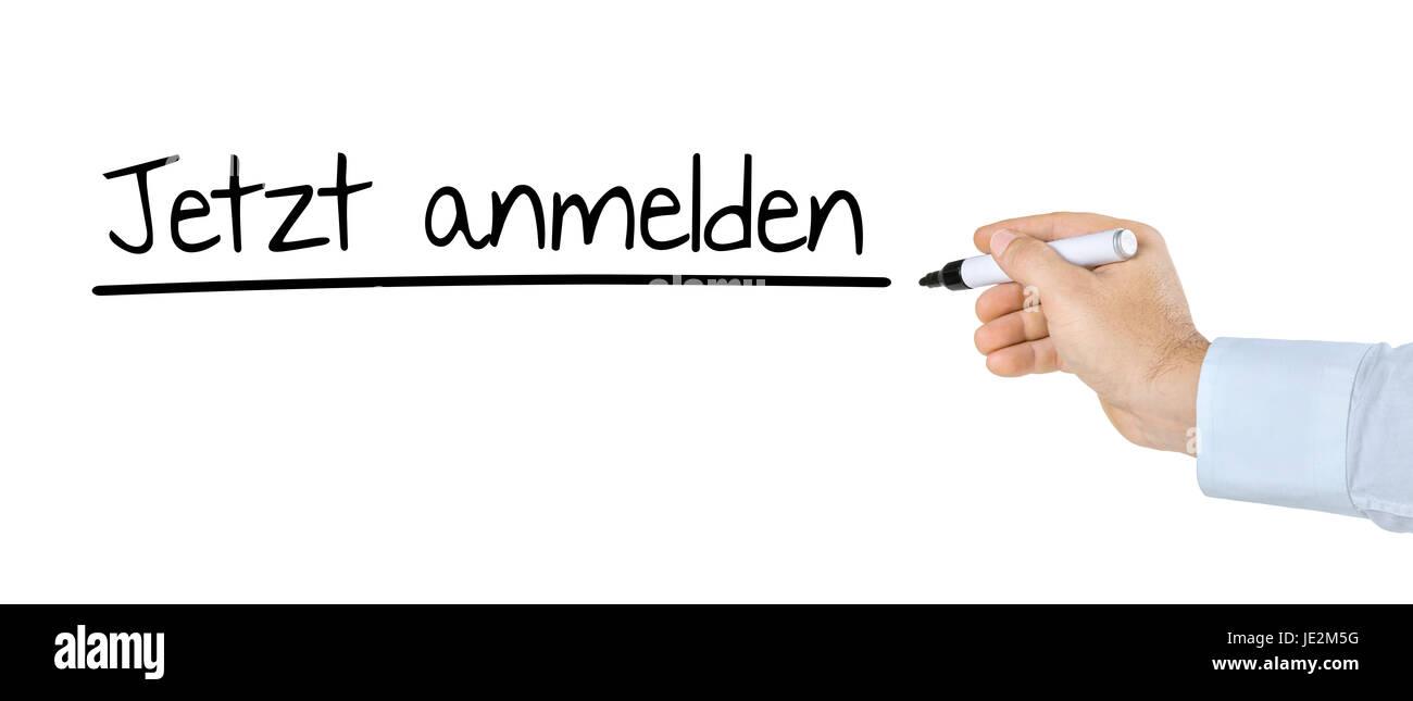 Hand mit Stift schreibt Jetzt anmelden Stock Photo