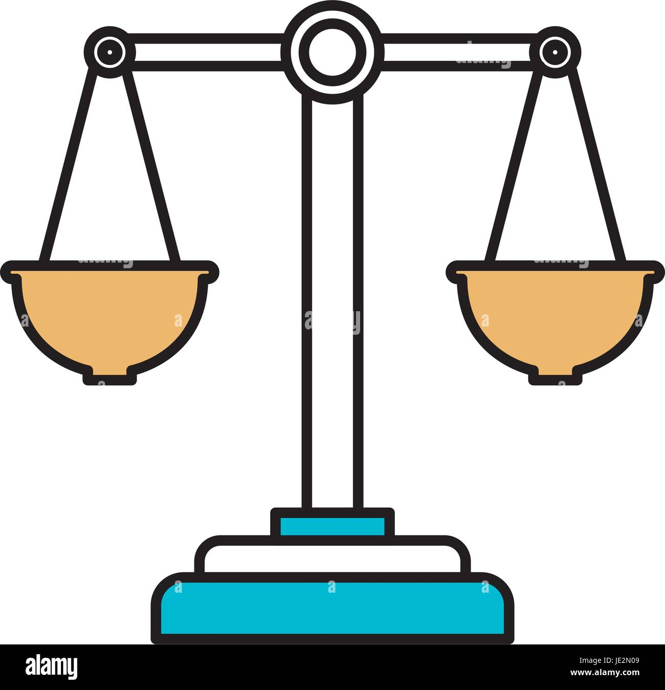 color sections silhouette of justice scales - Stock Vector