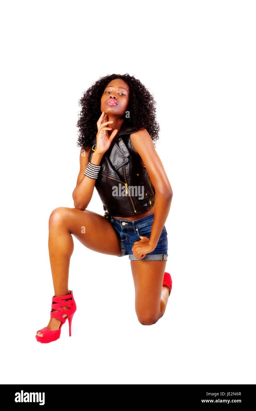 Attactive Skinny Black Teen Girl Standing In Dress Stock: Attractive Skinny Black Teen Girl Stock Photos