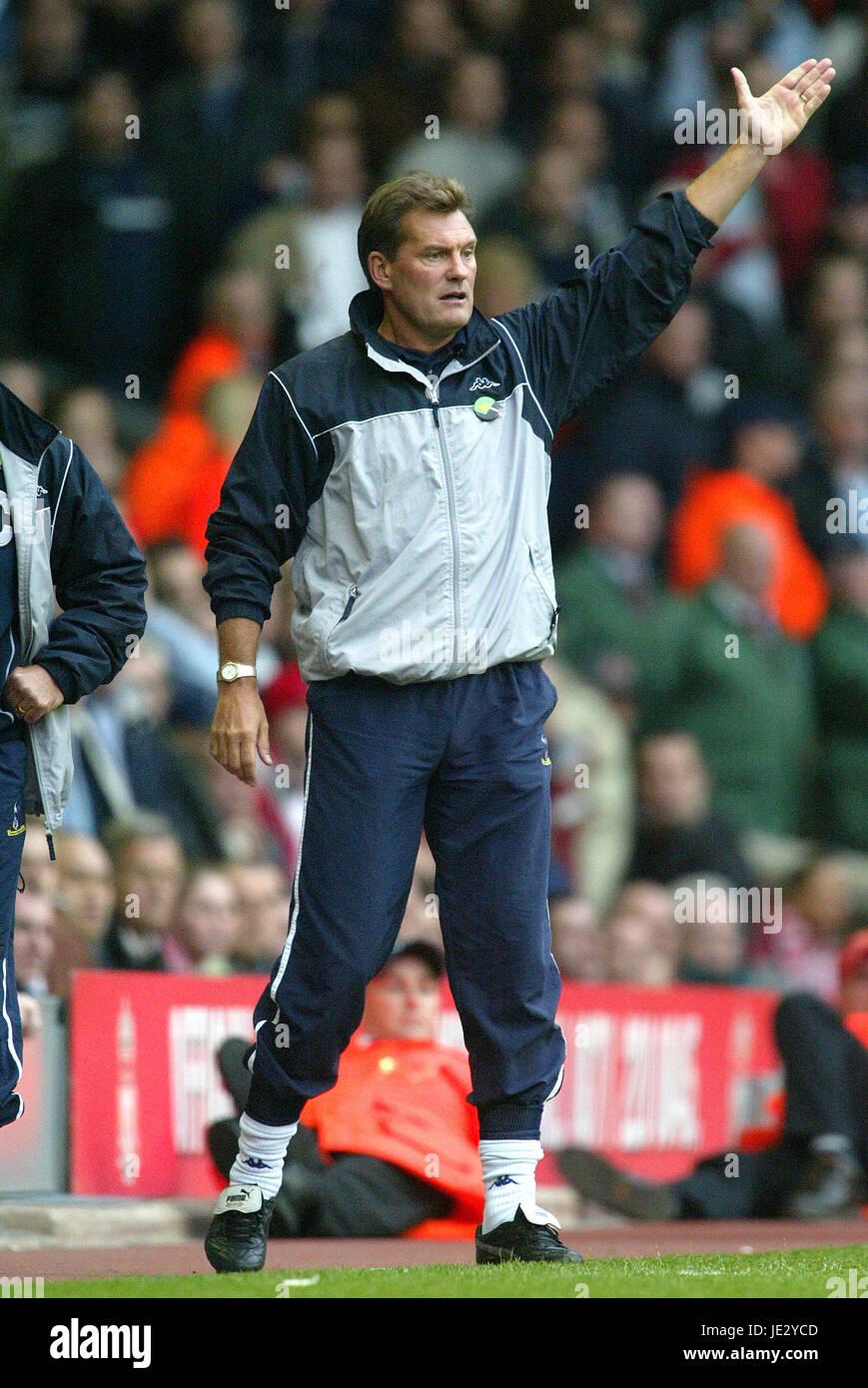 Glenn Hoddle Tottenham Hotspur Fc Manager Anfield Liverpool England Stock Photo Alamy