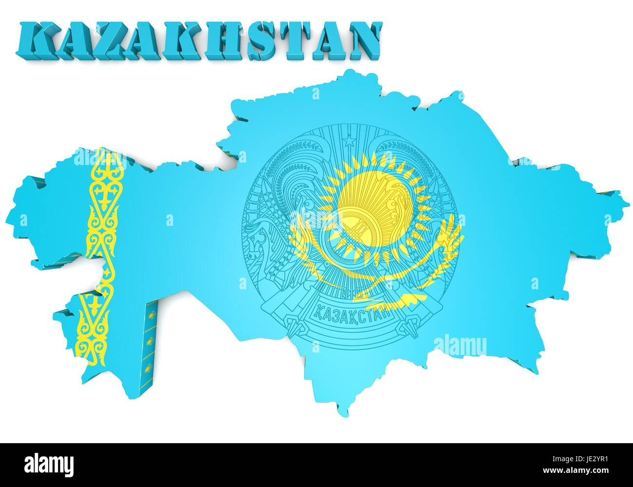 3d map illustration of Kazakhstan with flag and coat of ...