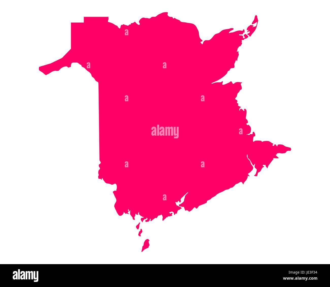 Karte von New Brunswick - Stock Image
