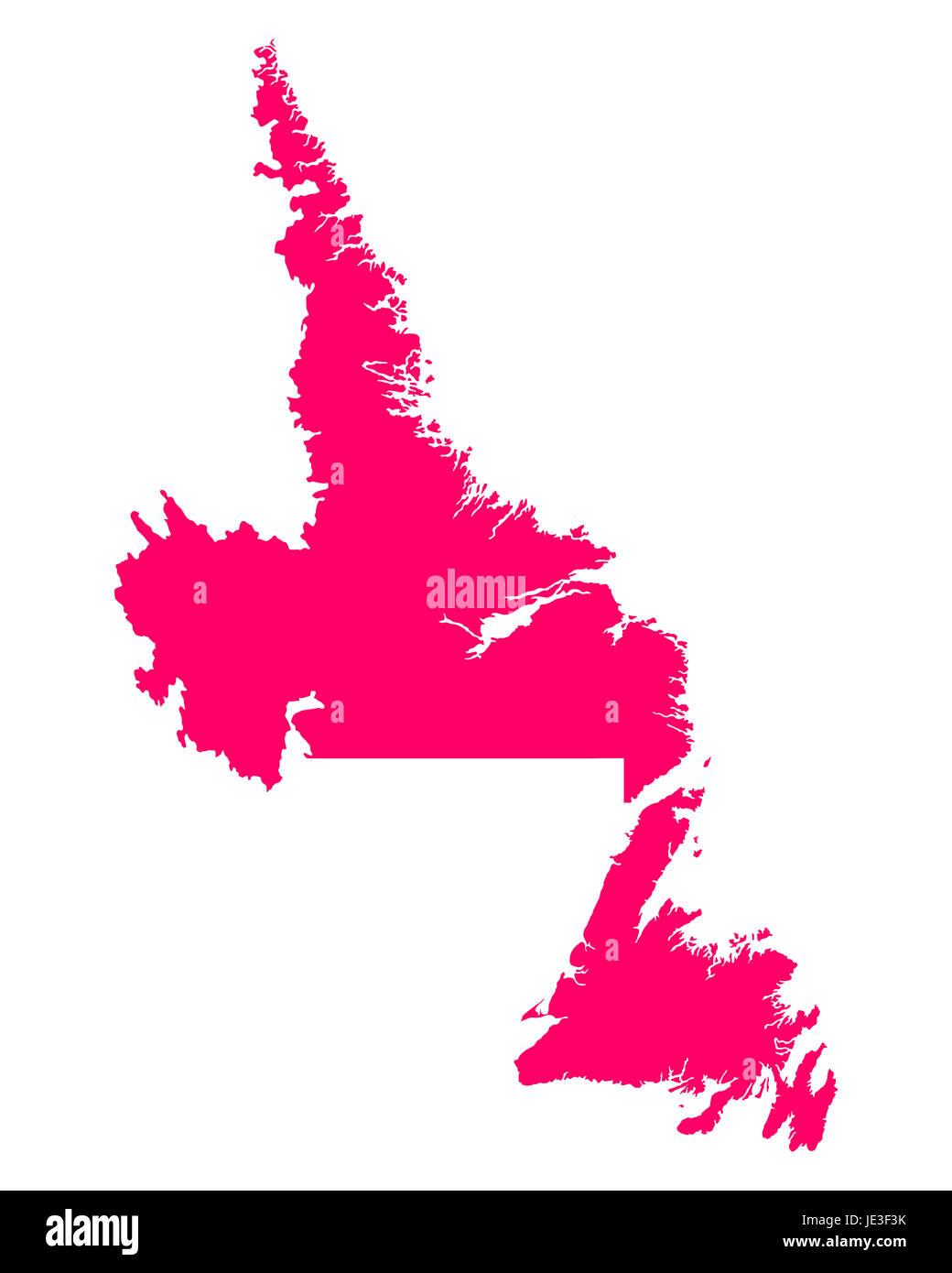 Karte von Newfoundland and Labrador - Stock Image
