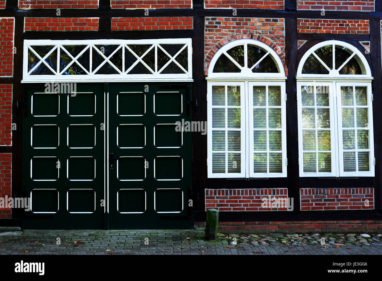 Wooden Gate With Arched Windows Stock Photo 146366982 Alamy