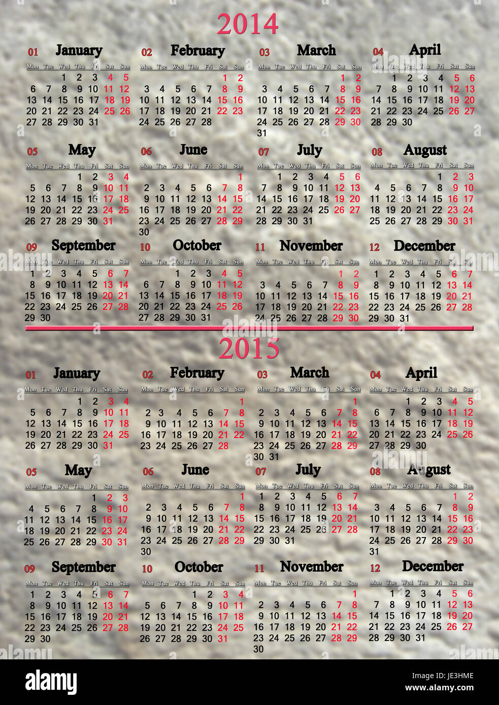 usual office calendar for 2014 - 2015 years on stony background - Stock Image